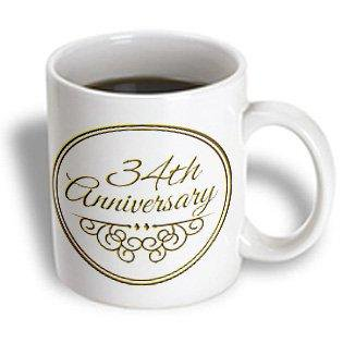 3dRose 34th Anniversary gift - gold text for celebrating wedding anniversaries - 34 years married together, Ceramic Mug, 11-ounce