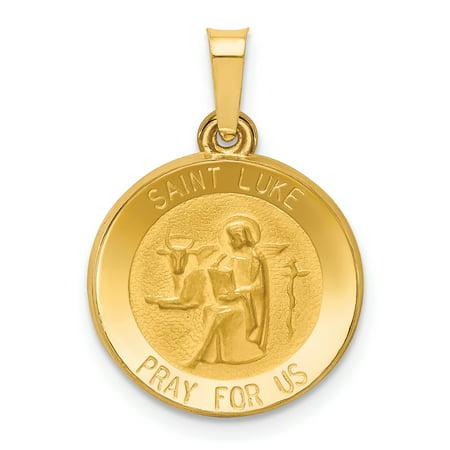 14k Yellow Gold Saint Luke Medal Pendant Charm Necklace Religious Patron St For (Luke Religious Medal)