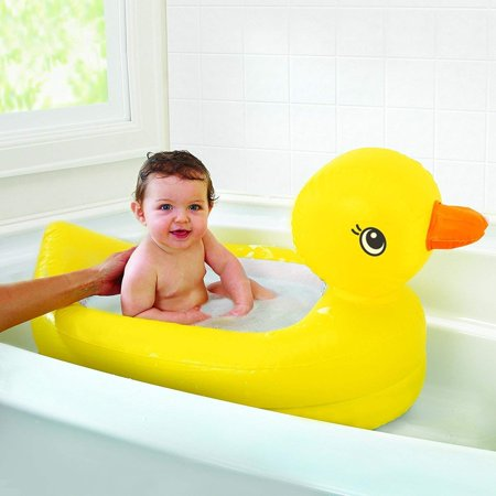 White Hot Duck Bath Toy with White Hot Inflatable Duck Tub, White Hot Safety Disc reveals the word HOT in white when bath water is too hot for.., By Munchkin for $<!---->
