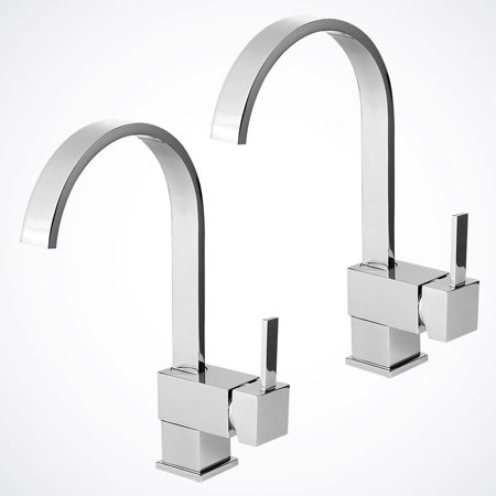 GHP Pack of 2 Swivel Spout Contemporary Kitchen Bar / Bathroom Vessel Sink Faucet