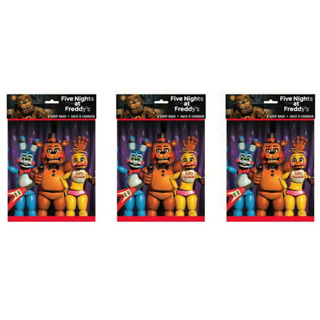 (5 Pack) Plastic Five Nights at Freddy's Goodie Bags, 9 x 7 in, 8ct - Shark Birthday Supplies