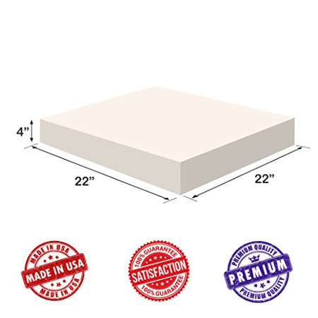 Upholstery Foam-Square Cushion Sheet- Firm Soft-Premium Luxury Quality-Good for Chair Cushions-Sofa Cushions-Wheelchairs-Poker Tables and much more, Dream Solutions USA(4x22x22, High Density) ()