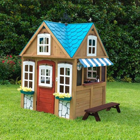 kidkraft backyard wooden seaside cottage outdoor children kids toddler playhouse. Black Bedroom Furniture Sets. Home Design Ideas