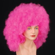 Star Power Men Super Poofy Clown Afro Wig, Pink, One Size