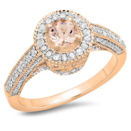 Dazzlingrock Collection 14K Round Morganite & White Diamond Bridal Vintage Halo Style Engagement Ring, Rose Gold, Size 6.5 (Halo Style Round Diamond)