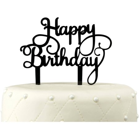 Unik Occasions Happy Birthday Acrylic Cake Topper Black