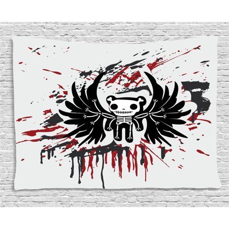 Halloween Tapestry, Teddy Bones with Skull Face and Wings Dead Humor Funny Comic Terror Design, Wall Hanging for Bedroom Living Room Dorm Decor, 80W X 60L Inches, Pearl Black Ruby, by Ambesonne