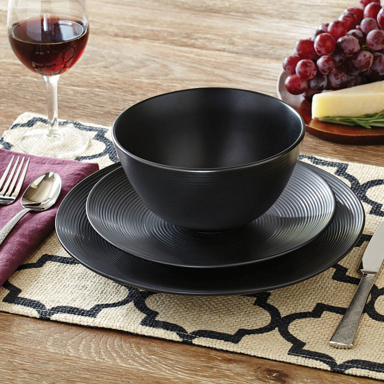 Better Homes and Gardens Matte Swirl 12-Piece Dinnerware Set Black - Walmart.com & Better Homes and Gardens Matte Swirl 12-Piece Dinnerware Set Black ...