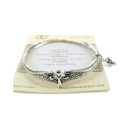 Beautiful Serenity Prayer Inspirational with Cross Charm Silver Tone Bangle - Inspirational Bracelets