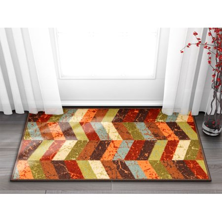 Mosaic Outdoor Rug (Well Woven Non-Skid/Slip Rubber Back Antibacterial 18