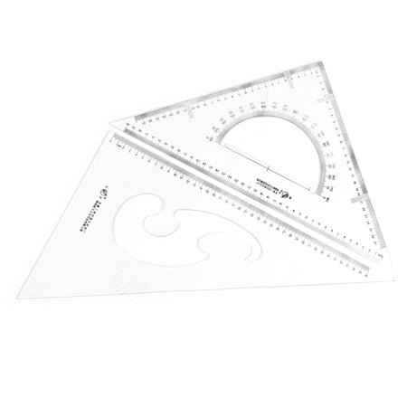 Right Triangle (Unique BargainsPlastic Drafting Drawing Tool Right Angle Triangle Ruler Combo Protractor 2 in 1 )