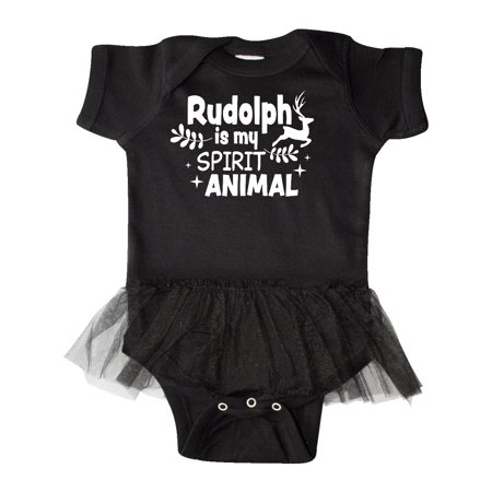 Christmas Rudolph is My Spirit Animal with Reindeer Infant Tutu Bodysuit