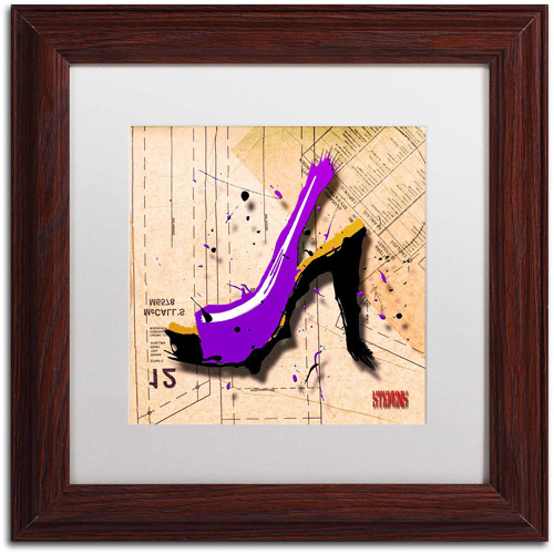"Trademark Fine Art ""Suede Heel Purple"" Canvas Art by Roderick Stevens, White Matte, Wood Frame"