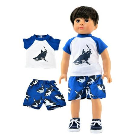 Shark Rash guard and Swim trunks -Fits 18