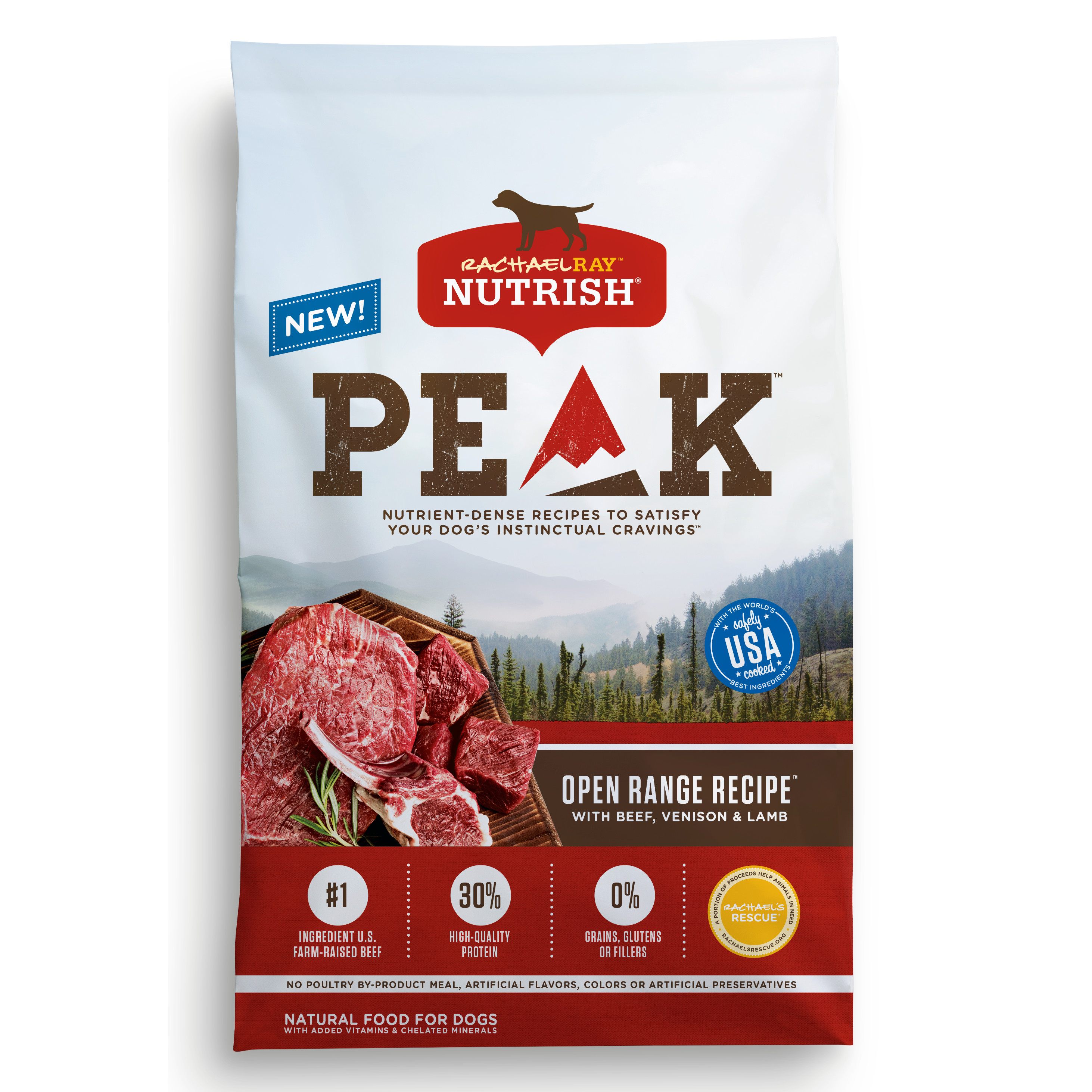 Rachael Ray Nutrish PEAK Natural Dry Dog Food, Grain Free, Open Range Recipe with Beef, Venison & Lamb, 4 lbs
