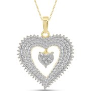 """JewelersClub White Diamond Accent 14kt Gold-Plated Heart Pendant, 18"""""""