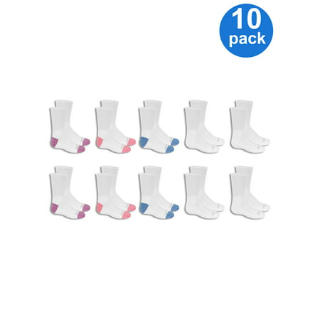 Soft Kids Socks (Fruit of the Loom Everyday Soft Cushion Crew Socks, 10 Pairs (Little Girls & Big)