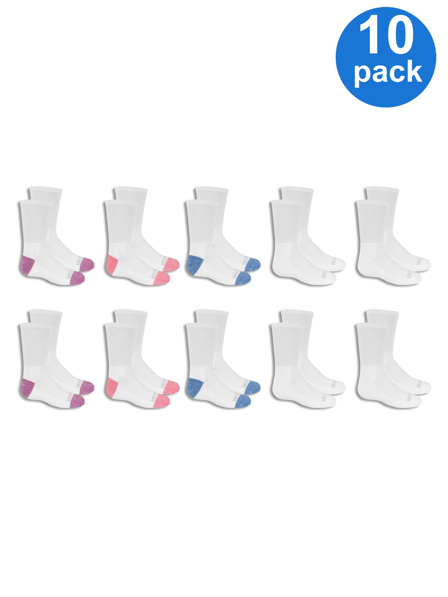 Fruit of the Loom Everyday Soft Cushion Crew Socks, 10 Pairs (Little Girls & Big Girls)