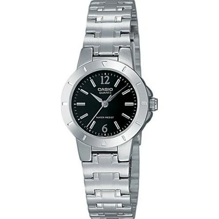 Analogue Dial Watch - LTP-1177A-1AEF Ladies Watch Quartz Analogue Black Dial Silver Steel Strap