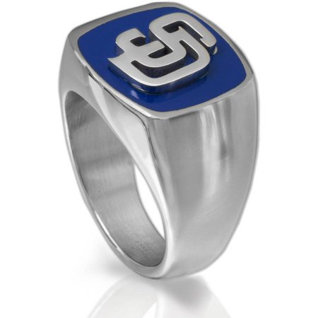 MLB License Stainless Steel San Diego Padres Logo Ring by