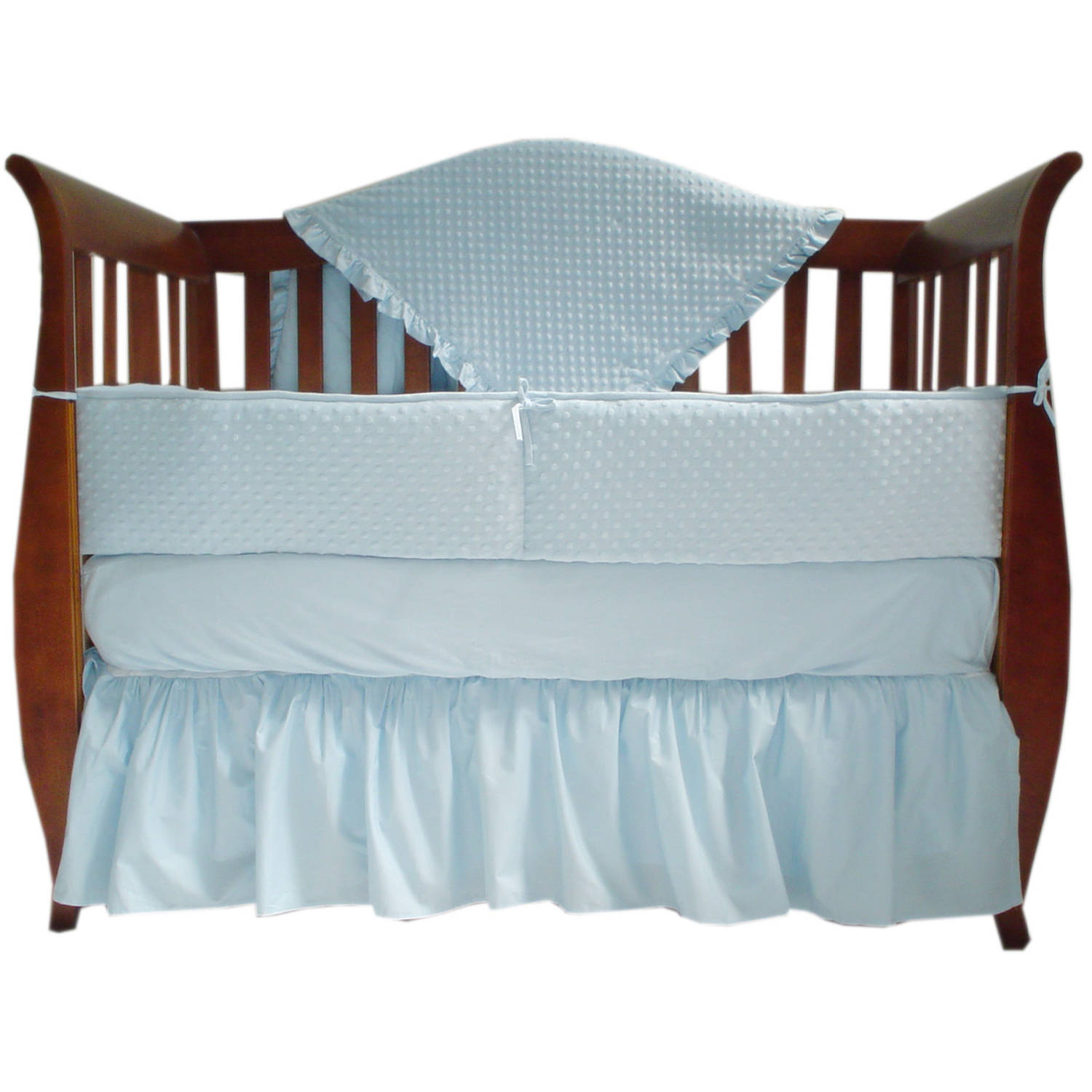 American Baby Company Heavenly Soft Minky dot 4-Piece Crib Bedding Set, Blue