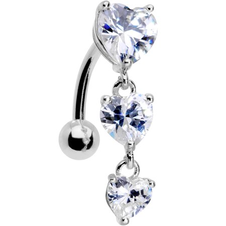 Body Candy 14G 316L Stainless Steel Navel Ring Piercing Heart Top Mount Dangle Belly Button Ring