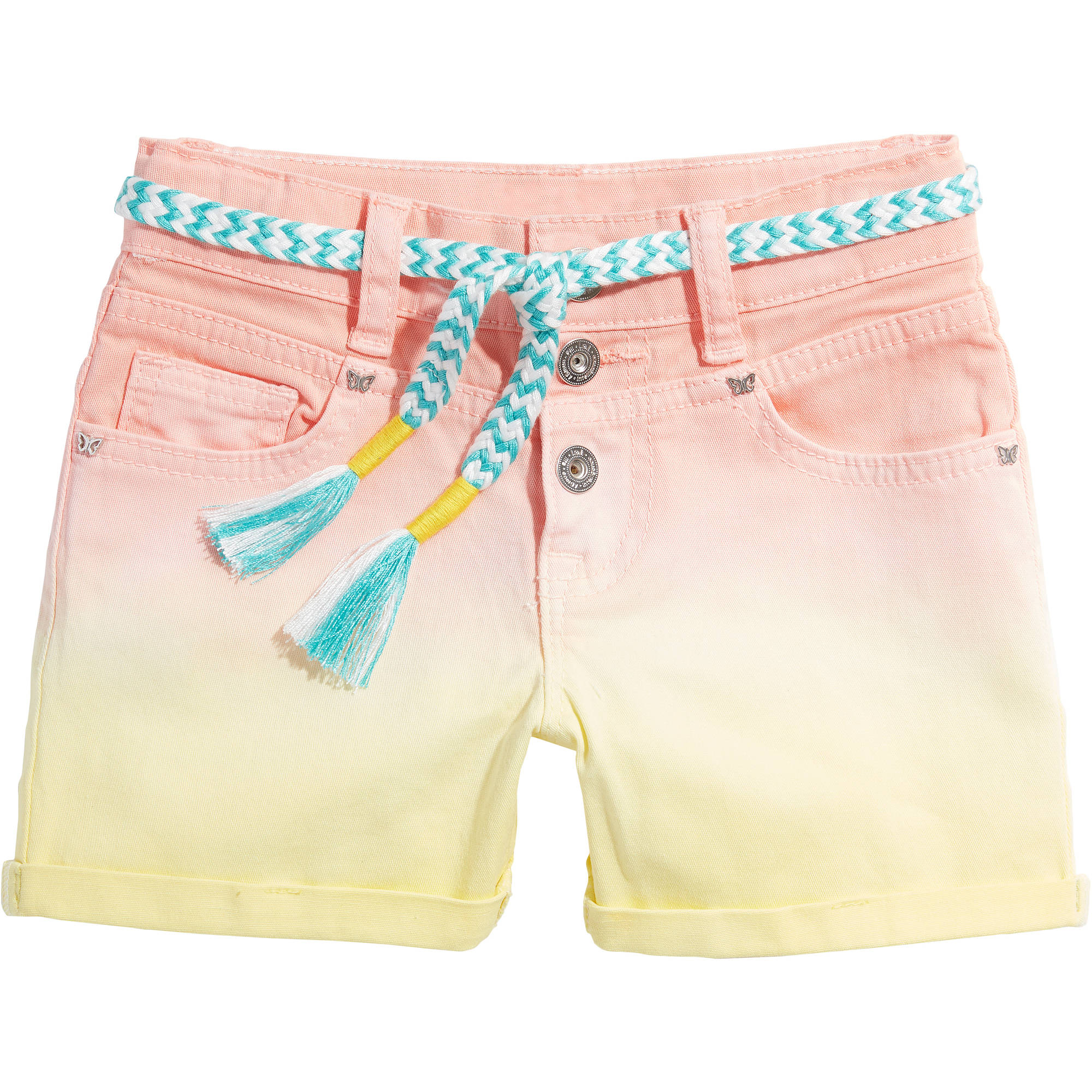LEI Girls' High Rise Rainbow Denim Shorts