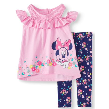 Little Girls' Minnie Mouse Cold Shoulder Floral Top and Legging, 2-Piece Outfit Set - Little Girls Clothing Store
