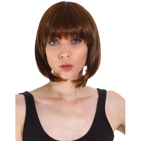 Short Light Brown Bob Style Hair Wig Full Halloween Party Wigs