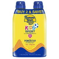 Banana Boat Kids Sport Sunscreen Spray SPF 50+, 12 oz Twin Pack