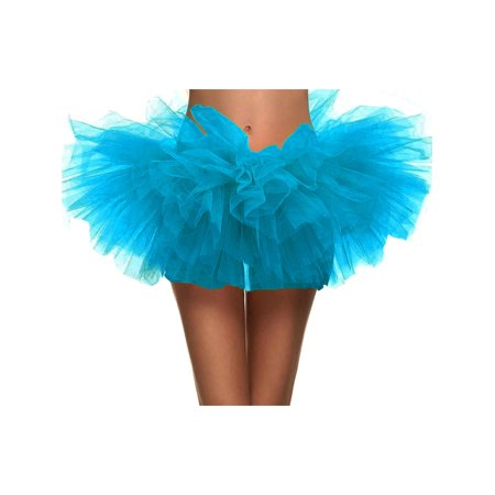 Women's Classic 5 Layered Tulle Tutu Skirt Ballerina Dress, Sky Blue