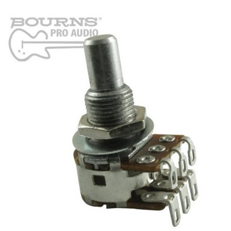 - Mini Blend-Balance Guitar Potentiometer, 500K Dual MN Taper / Center Detent, Solid Shaft By Bourns
