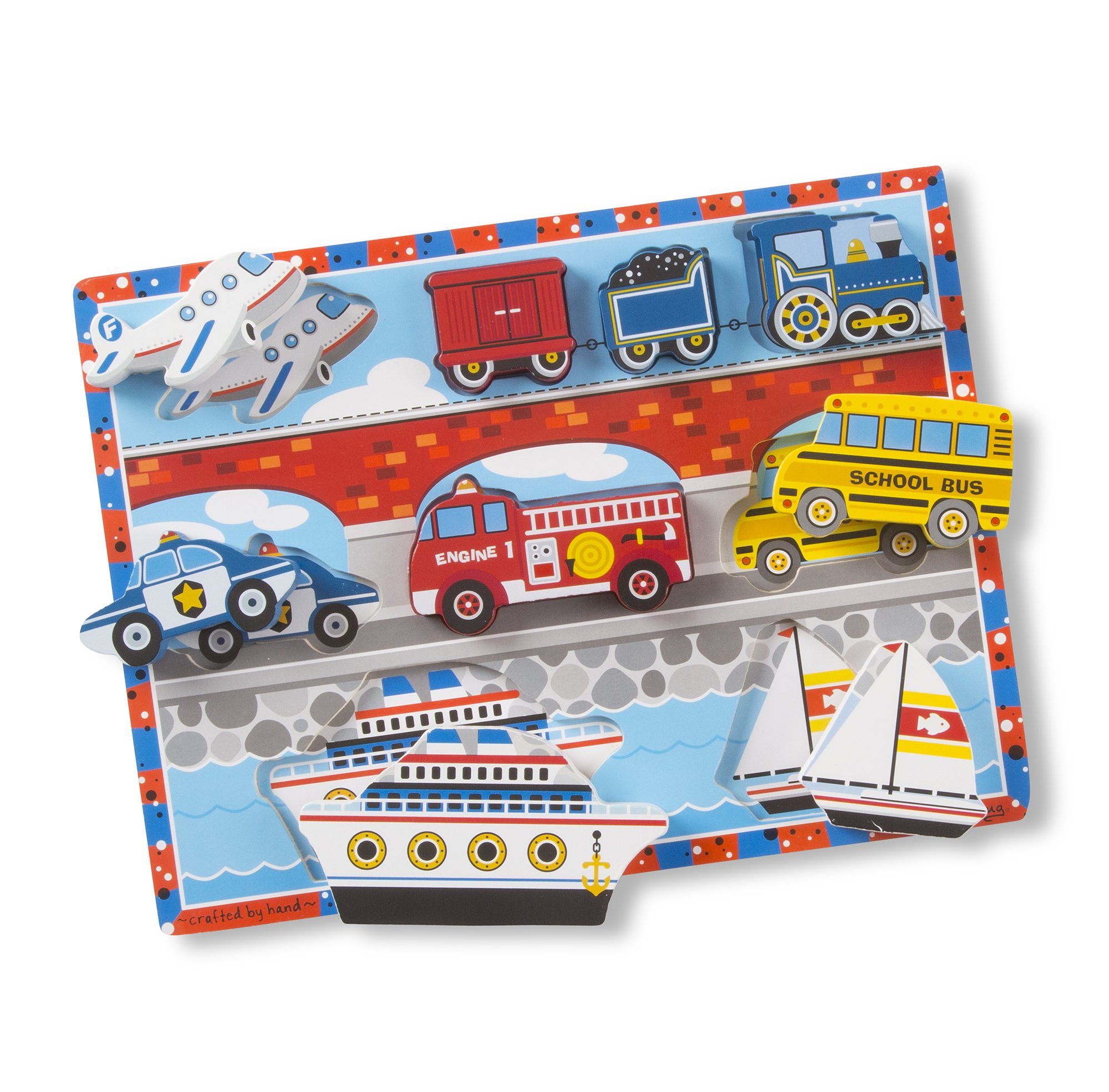 Melissa & Doug Vehicles Wooden Chunky Puzzle - Plane, Train, Cars, and Boats (9 pcs) - image 4 of 5