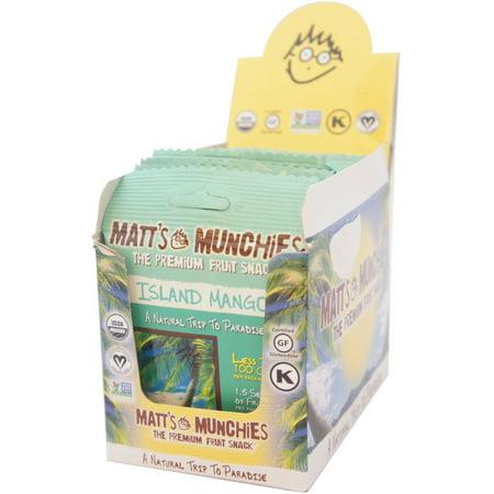 Matt's Munchies Organic Fruit Snack, Island Mango, 1 oz bags, 12 bags (Pack of