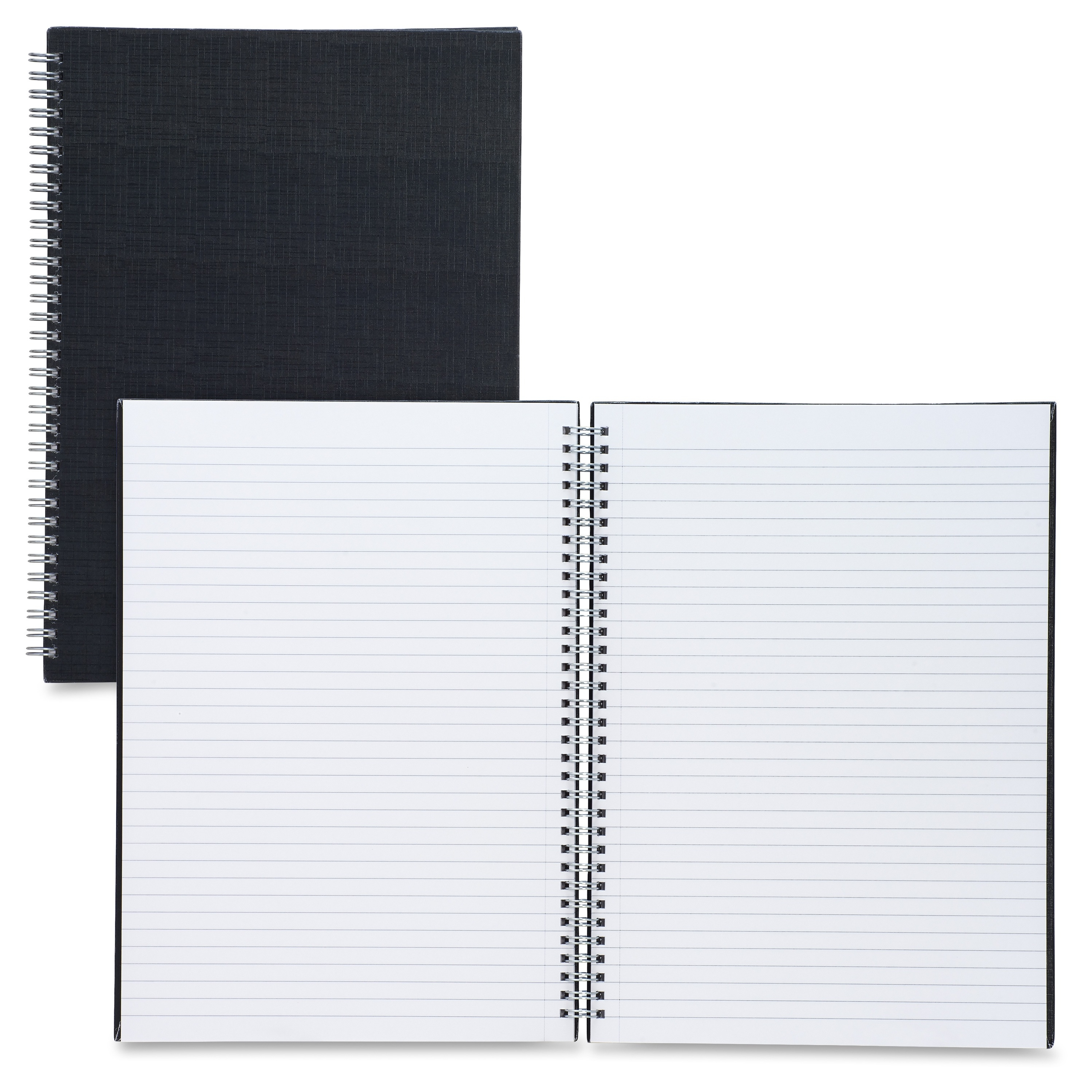 """Sparco Twin-wire A4 Linen Notebook - 80 Page - Ruled - A4 8.27"""" X 11.69"""" - 1 Each Black Cover (spr-17708)"""