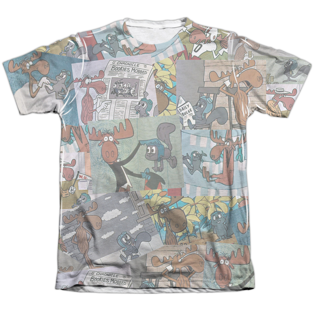 Trevco Rocky & Bullwinkle Collage (Front Back Print) Mens...
