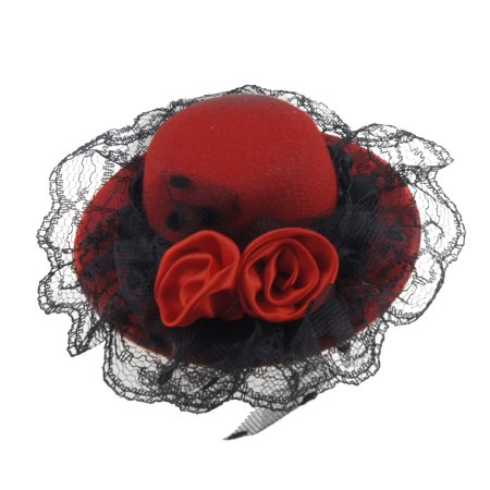 Red Dual Flowers Black Lace Hat Cap Type Alligator Hair Clip