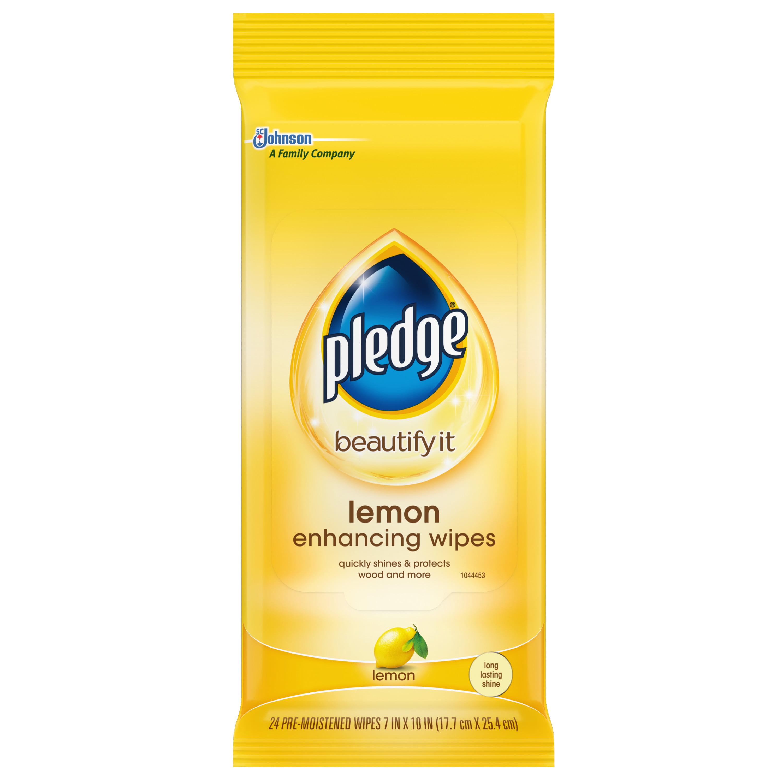 (2 Pack) Pledge Lemon Enhancing Wipes 24 ct