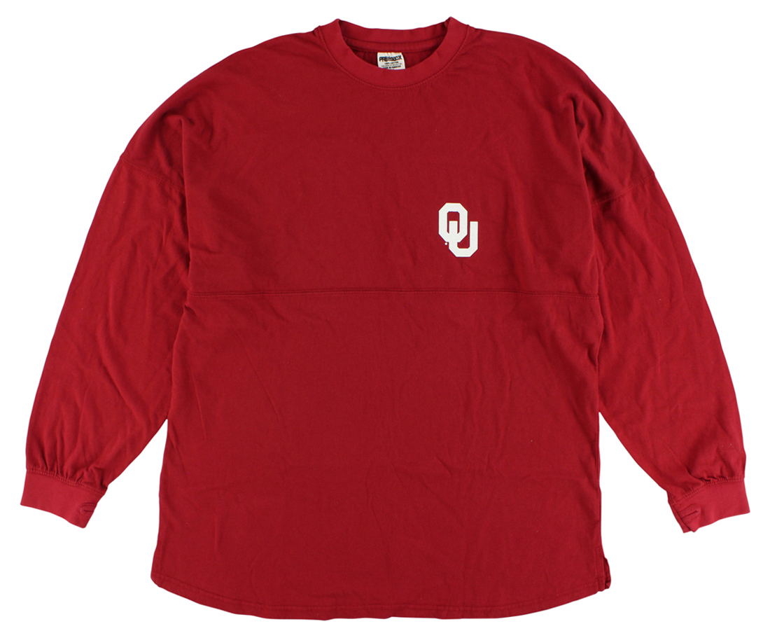 Press Box Womens Oklahoma Sooners Sweeper Long Sleeve T Shirt Red by