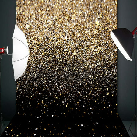 5x7FT Christmas Glitter Black Gold Dots Photo Lighting Studio Props Photography Vinyl Backdrop Background](Glitter Chevron Background)