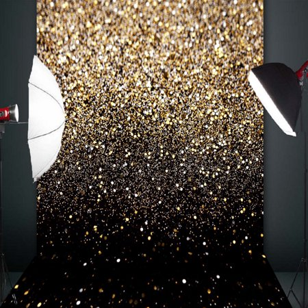 5x7FT Christmas Glitter Black Gold Dots Photo Lighting Studio Props Photography Vinyl Backdrop Background](Teal Glitter Background)
