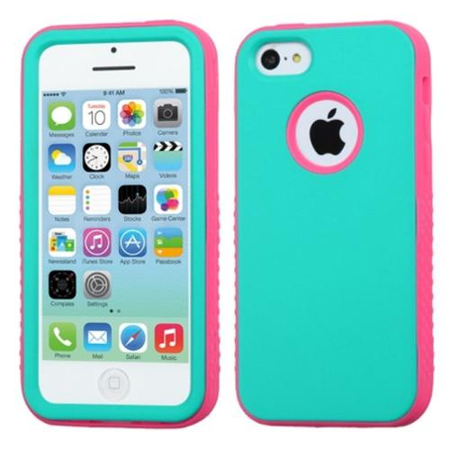 Insten Rubberized Teal Green/Electric Pink VERGE Hybrid Skin Case Cover For APPLE iPhone 5C