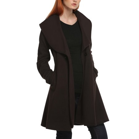 Kimimart lapel Long Coat, Women Winter Long Elegant Cardigan Trench Coat with Belt for $<!---->
