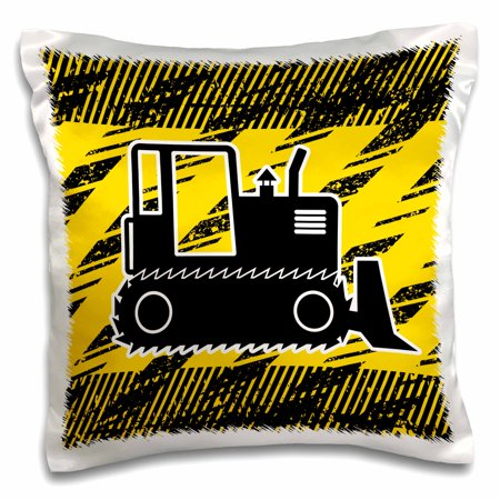 3dRose Big Bulldozer Design in Black and Yellow - Pillow Case, 16 by 16-inch ()