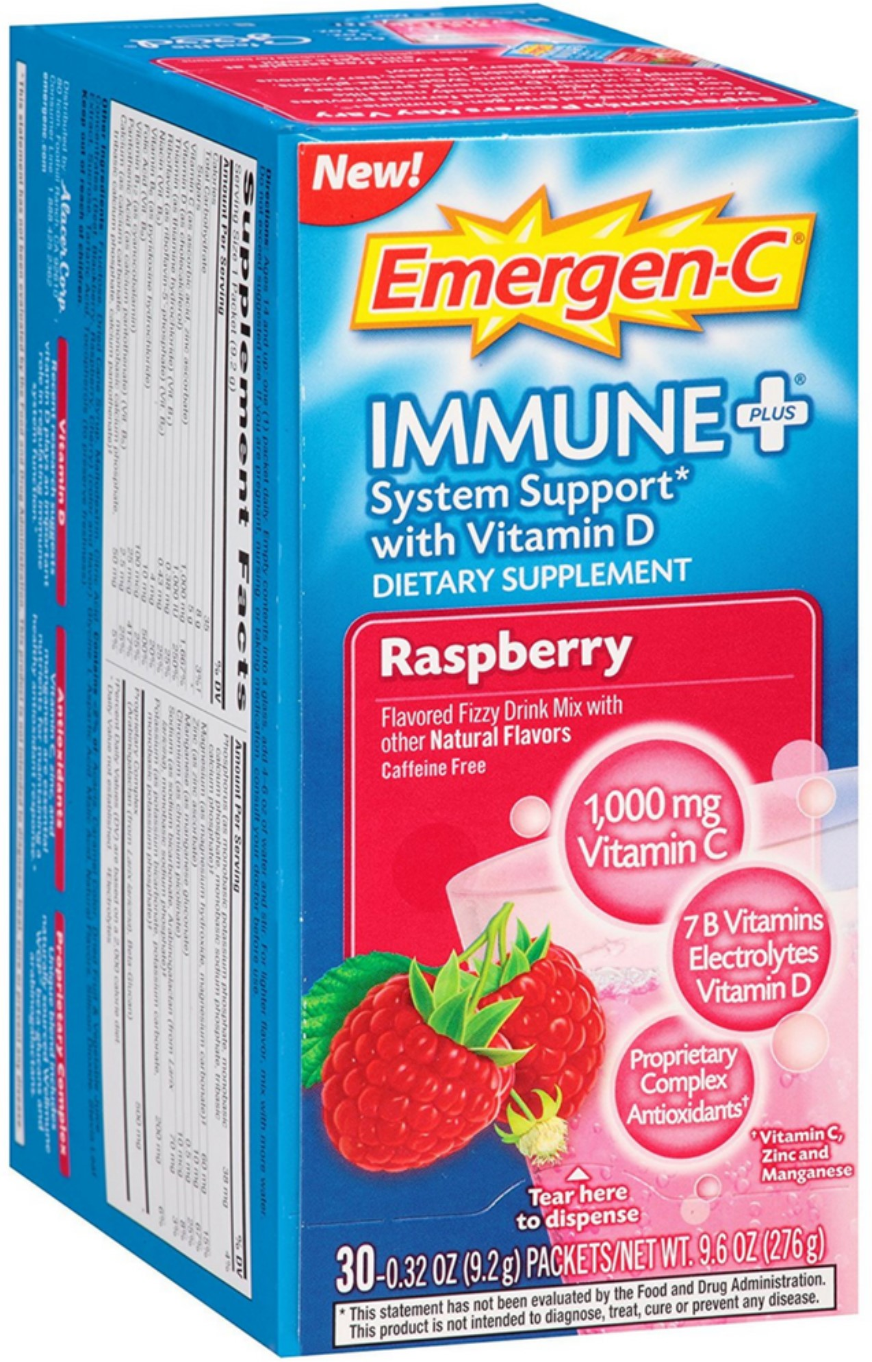 Emergen-C Immune + System Support with Vitamin D Fizzy Drink Mix, Raspberry 30 ea (Pack of... by