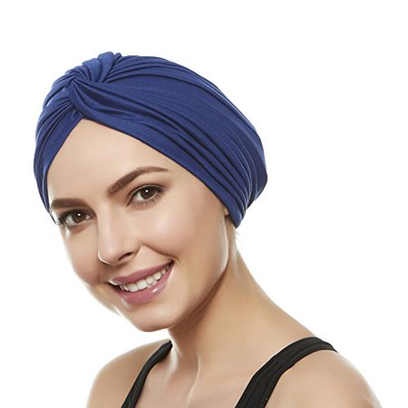 6ea2baf3477 Women s Twisted Pleated Swim Bathing Turban Head Cover   Sun Cap - 7 Colors  (Navy Blue) - Walmart.com