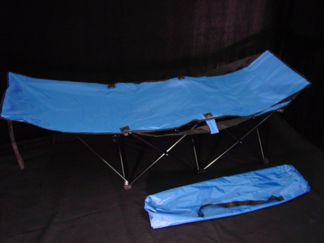 Portable Folding Camping Cot Blue w. Bag Camp Bed, Compact, Travel Bed, Beach by
