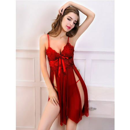 Sexy Satin Bow - Sexy Sleep Dress with Splitted Mesh Floral Lace Satin Bow Red Small