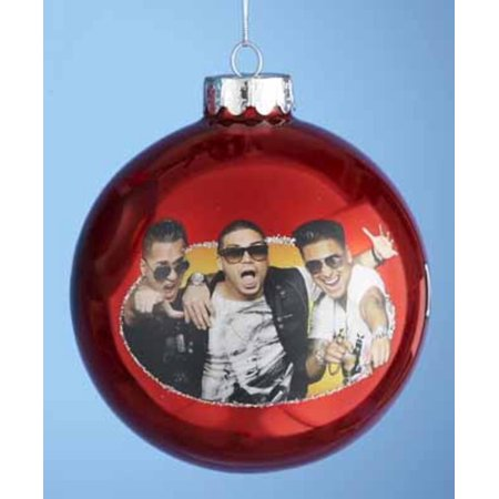 Red    Jersey Shore    Mike  Vinnie And Pauly   Glass Ball Christmas Ornament 4   100Mm