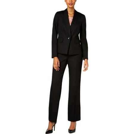Le Suit Womens Pinstripe Professional Pant Suit Black 8